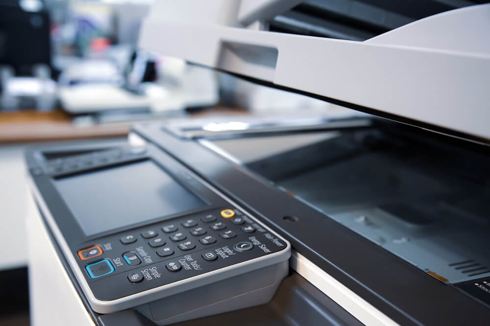 Close-up Photocopier or Printer Is Office Worker Tool Equipment or for Scanning and Copy Paper